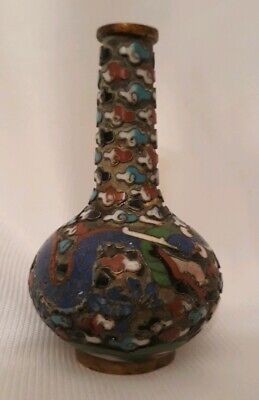 "Antique Small Miniature 2.25"" Chinese Cloisonné Vase with  Five Bifid Dragon"