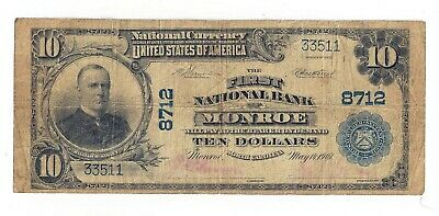 1902 First National Bank of Monroe, NC - $10 National Bank Note Ch#8712 (05385)