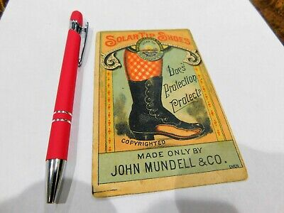 Solar Tip Shoes John Mundell Co Philly Shoes Advertising Trade Card