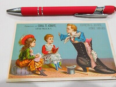 Chas. T. Croft Little Falls Ny Edwin Burt Shoes Victorian Advertising Trade Card