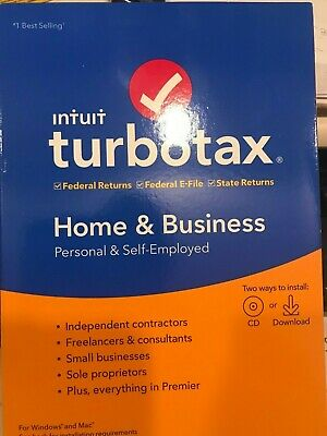 Turbo Tax Home Business 2019 FACTORY SEALED CD+DOWNLOAD INCLUDED FREE SHIPPING