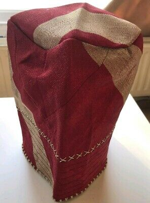 ONE PIECE ONLY NEW NIGERIA Aso Oke GELE WINE//RED  WITH CHAMPAGNE COLOUR