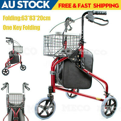 Basket + Folding Tri-Wheel Wheeled Walker Rollator - for negotiating tight space