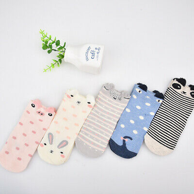 Girls 5 Pairs Ankle Socks Childrens Kids Coloured Novelty 3D Cartoon Animal Cat