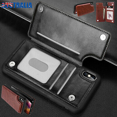 For iPhone XS Max XR X Flip Leather Magnetic Card Wallet Shockproof Case Cover