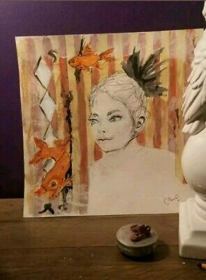 Original Fine Art Mixed Media On Paper Drawing And Paint