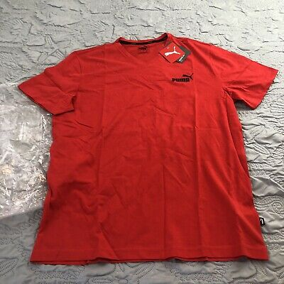 New Puma Mens Essential V Neck Tee Bright Red size Large