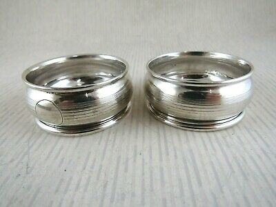 Solid Silver PAIR OF NAPKIN RINGS Hallmarked:-Chester 1924