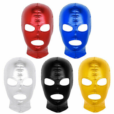 Unisex Cosplay Face Mask Latex Shiny Metallic Open Eyes and Mouth Headgear Hood