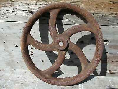 Antique Pulley Wheel, Iron w/ Curved Ornate Spokes, Barn Element, RePurpose!!