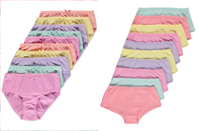 Girls 10 Pack Pastel Short Breifs Knickers Underwear1.5 -14 Years
