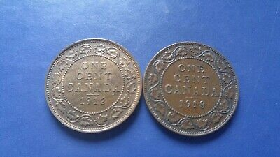 CANADA Large Cent George V Lot of 2 Coins 1912,1918