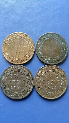 CANADA Large Cent Queen Victoria Lot of 4 Coins 1893,1895,1896,1901