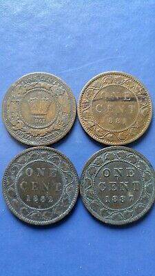 CANADA Large Cent Queen Victoria Lot of 4 Coins 1861,1881,1882,1887