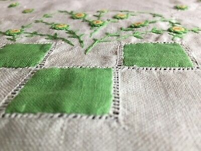 Hand Embroidered Linen Centrepiece Embroidery Vintage