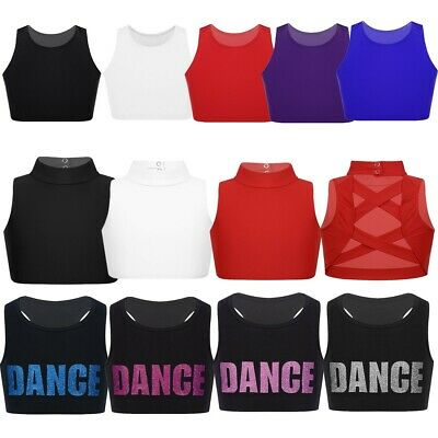 Girls Crop Top Dance Vest Fitness Training Gym Yoga Tanks Top Sports Bra Workout