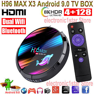 H96 MAX X3 4G+128G Android 9.0 8K UHD 5G WIFI BT TV BOX HDMI2.1 3D Media Player