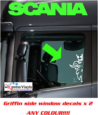 Scania griffin window decals x 2. 30cm graphics stickers ANY COLOUR