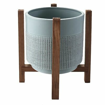Ceramic Planter on Wood Stand - Indoor/Outdoor Decorative Pot