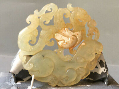 Old China natural jade hand-carved statue Dragon Phoenix statue pendant XO734