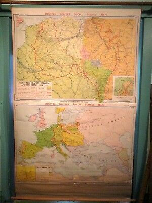 "Vintage Wall Map 72""x 43"", Northern France, Belgium & Rhine, Europe Napoleon"