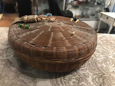 Vintage Antique Woven Wicker Chinese Asian sewing stash jewelry box