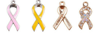 4 Cancer Awareness Charms Enamel Ribbon Pendants Gold Green Blue Red Pink Mix