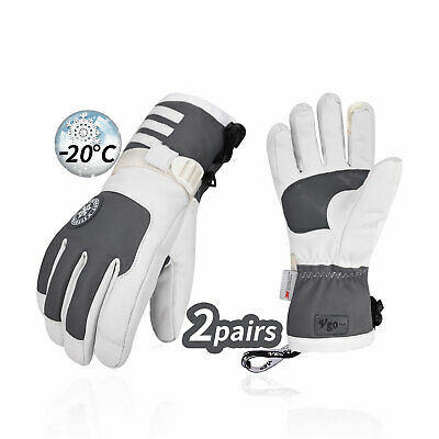 Vgo 2Pairs Junior -4 ℉/-20℃ 3M Lined Goatskin Leather Ski Gloves(GA2446FW-J)