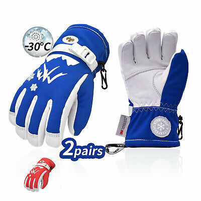 Vgo 2Pairs Kids -20℉/-30℃ 3M Lined Goat Leather Outdoor Ski Gloves(GA2463FW)