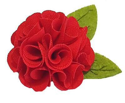 Red Flower with Leaves Lapel Pin