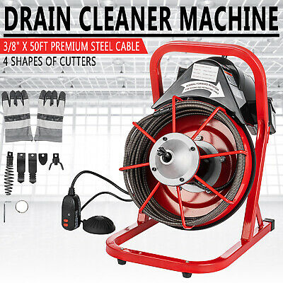"Commercial 50Ft 3/8"" Electric Drain Cleaner Drain Machine Auger Snake w/ Cutter"