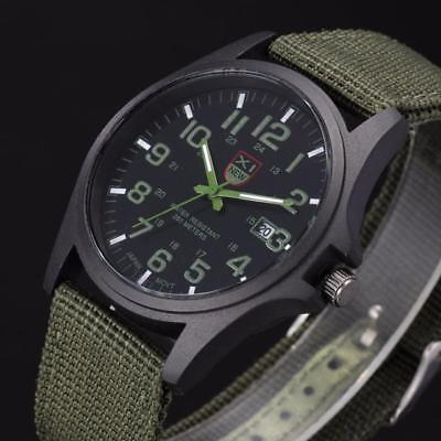 Military Men's Date Waterproof Canvas Strap Analog Quartz Sport Wrist Watches A