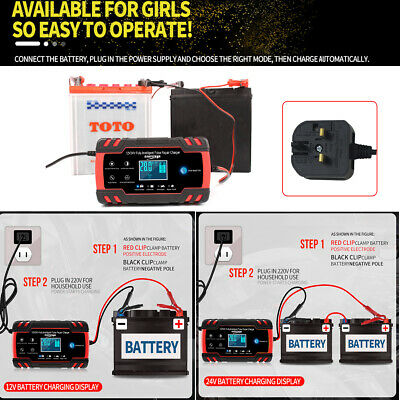 Heavy Duty 4-8A 12V 24V Battery Charger Jump Starter Booster Car Vehicle Van Uk