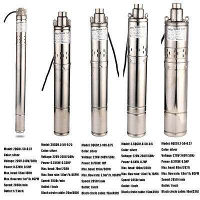 220-240V/50Hz Submersible Screw Water Pump Stainless Steel Borehole Pump UK Plug