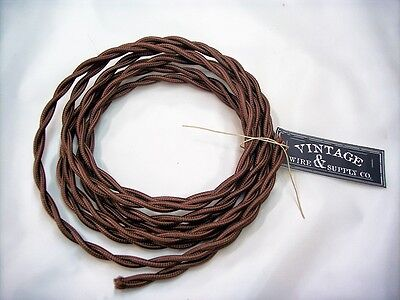 Brown 7ft Cloth Covered Twisted Wire - Antique Radio Restoration Cord Rewire