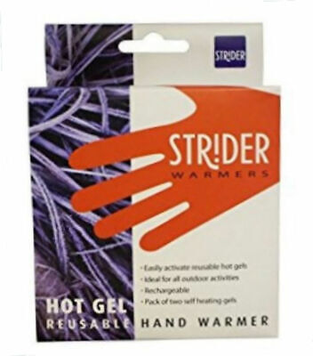 Pack of 2 Strider Self-Heating Gel Hand Warmers Reusable Rechargeable New Boxed