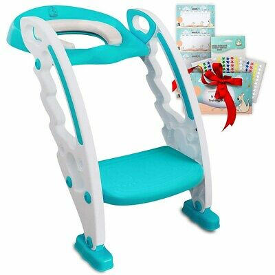 Toilet Training Seat Potty Stool Ladder and Handles for Toddlers Kids