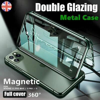 For iPhone 11 Pro X XR XS Max Magnetic Tempered Glass 360° Full Body Case Cover