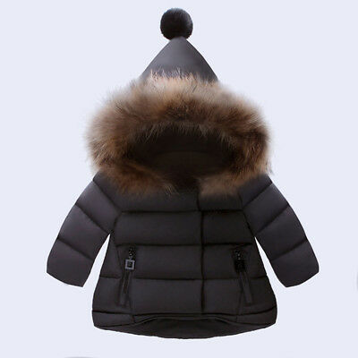 Babys Boy Girl Winter Warm Down Jacket Coat Hooded Hoodie Outerwear Snowsuits MD