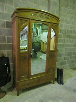 Antique French carved medium oak 3 mirror armoire,wardrobe,Flat packs C1900