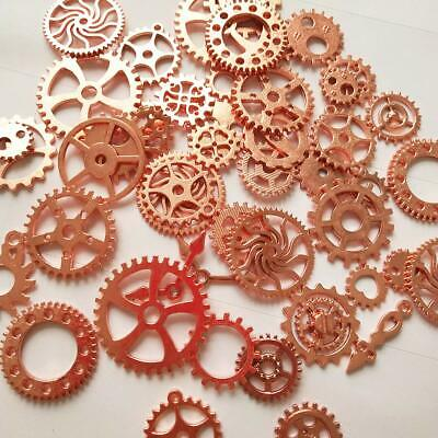 10 Clock Gears Cogs Parts Rose Gold Metal Steampunk Supplies Assorted Lot
