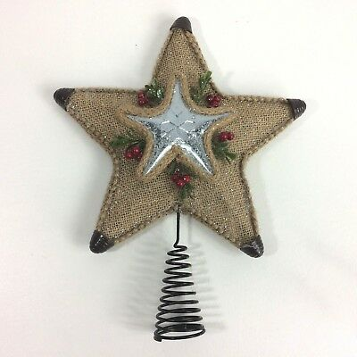 """Holiday Time Tree Topper Burlap Star Metal 12"""" Christmas Berries New"""