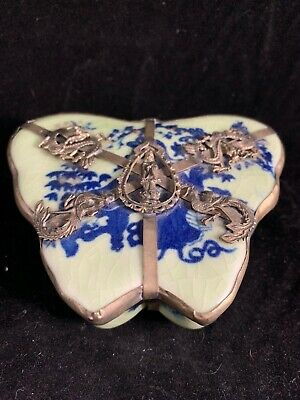 Estate Found Chinese Antique Blue and White Porcelain Box