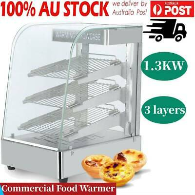 Commercial Pie Pizza Food Warmer Stainless Steel Hot Display Showcase Cabinet AU