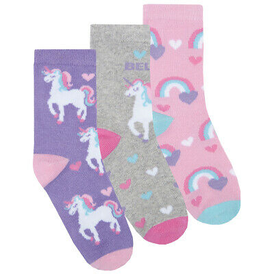 6 x Girls Unicorn Socks Children Kids Design Novelty Fun Gift Cotton Rich