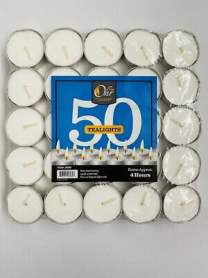 50 Count Unscented Tea Lights Candles 4 Hour Burn Time White Fifty Made in USA
