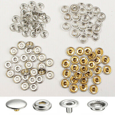 200 Pcs Stainless Steel Fastener Snap Press Stud Cap Button Marine Boat Canvas