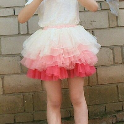 Girls Tutu Skirt Mesh Tulle Tiered Short Layered Princess Party Stage Dance Cute