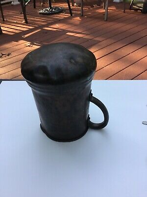 West Bend Aluminum Co Solid Copper Pitcher with Handle Vintage Rare Hammered Bot