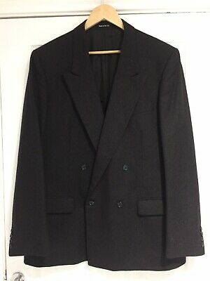 M &S st Michael vintage jacket blazer grey pure new wool double breasted 44 ins